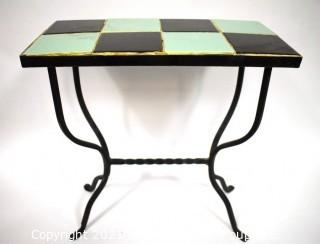 """Vintage Wrought Iron Table with Turquoise and Black Tile Insert.  Measures 18"""" tall, 19"""" long and 9"""" wide."""