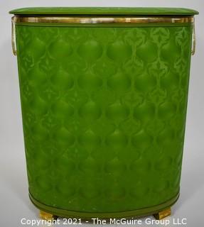"Vintage Mid Century Pearl Wick Green Rattan Laundry Hamper Basket.   Measures 24"" tall."