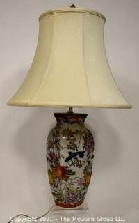 Antique Hand Painted Japanese Porcelain Lamp Made from Aichi Matsumura jar in the  Meiji-Taisho era, 1912 to 1926.