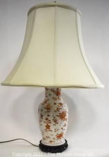 Antique Japanese Hand Painted Porcelain Lamp, White with Red Flowers.