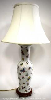 Vintage Asian Porcelain Lamp with Hand Painted Butterflies and Shade.