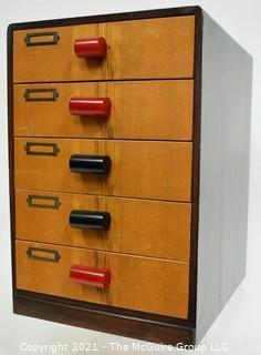 "Vintage Mid Century Five (5) Drawer Storage File Cabinet with Bakelite Drawer Pulls.  Measures 9"" x 12"" x 15"""