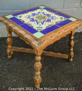 """Carved Wooden Side Table with Four (4) Inset Glazed Moroccan Tiles.  Measures 17"""" tall & 17"""" Square."""
