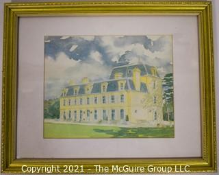 Framed Under Glass Water Color of Yellow House