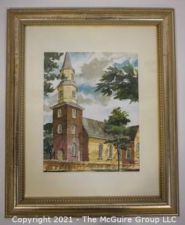 """Framed Watercolor of Church.  Measures 13"""" x 16""""."""
