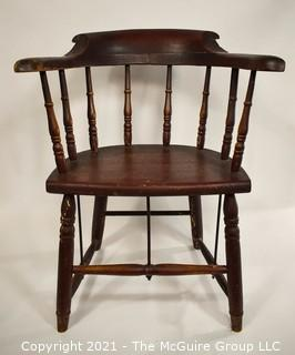 18th Century Antique Windsor Chair With Extended Arms and Metal Braces.