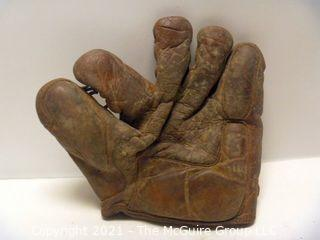 Vintage Softball Glove: 1930-40's Montgomery Wards; Crescent Pad, Thumb Pad and Lace Webbing