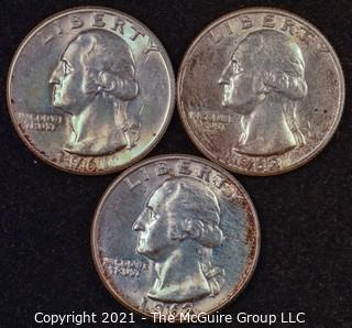 Numismatic: U.S. Coins: (3) Washington Silver Quarters