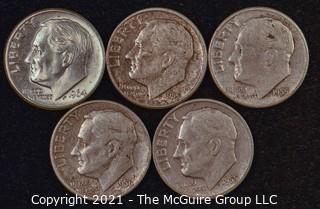 Numismatic: U.S. Coins: (5) Roosevelt Dimes