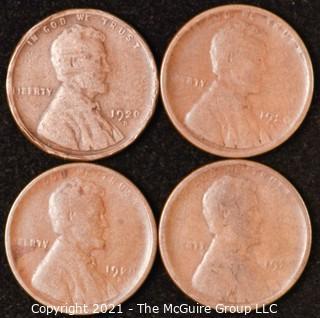 Numismatic: U.S. Coins: (4) Wheat Cents