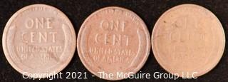 Numismatic: U.S. Coins: (3) Wheat Cents