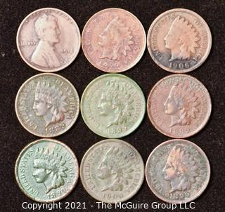 Numismatic: U.S. Coins: (9) Indian Head Cents