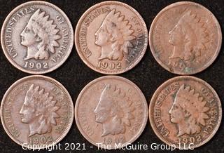 Numismatic: U.S. Coins: (6) Indian Head Cents