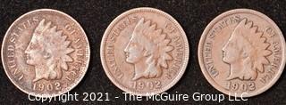 Numismatic: U.S. Coins: (3) Indian Head Cents