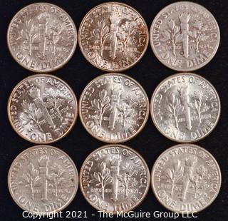Numismatic: U.S. Coins: (9) Roosevelt Silver Dimes
