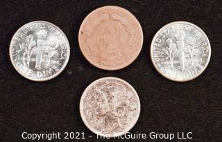 Numismatic: U.S. Coins: (1) Indian Head Cent; (1) Mercury Dime and (2) Roosevelt Dimes