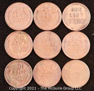 Numismatic: U.S. Coins: (9) Wheat Cents