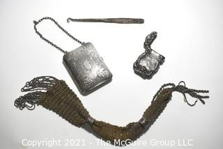 Four (4) Silver Plated Victorian Ladies Items.  Includes Hand Made Beaded Handbag, Compact Purse with Mirror, Case with Hinge Top and Button Hook.