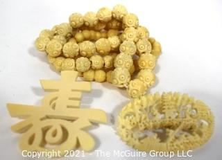Three (3) Pieces of Vintage of Asian Bone Carved Jewelry