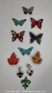 Group of Hand Made Copper and Enamel Painted Jewely.