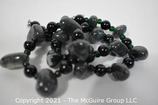 "Black & Grey Gemstone Necklace. Measures 16"" long."