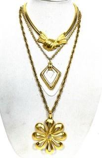 Three (3) Retro Costume Jewelry Pendant Necklaces