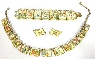 Set of Three (3) Coro Lucite Confetti Parure Including Wide Bracelet, Adjustible Necklace & Clip On Earrings.