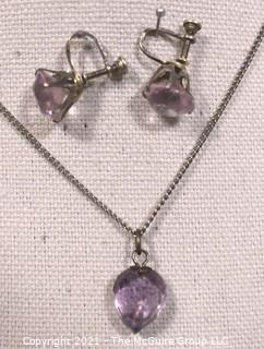 Vintage Set of  Faceted Teardrop Purple Amethyst Pendant on Sterling Chain and Screw Back Dangle Earrings.