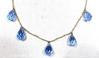 Vintage Necklace with Four (4) Faceted Teardrop Blue Gemstone Pendants on Brass Chain