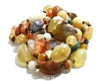 Opera Lenth Agate Stone Bead Necklace