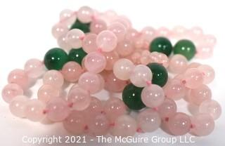 """Opera Length Knotted Pink & Green Gemstone Beaded Necklace.  Measure 30"""" long."""