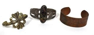 Set of Three (3) Hand Wrought Cuff Bracelets, One Native American with Stone Center.