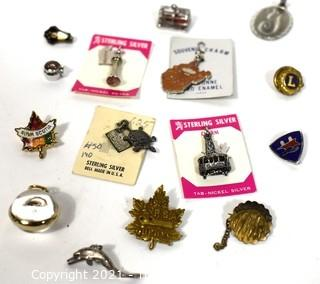 Group of Vintage Sterling Silver Souvenir Charms and Pendants.  Includes 1912 RSA Quebec Club Pin School Club Pins