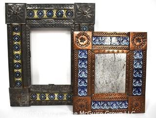 Two (2) Vintage Mexican Punched Tin & Talavera Tile Mirrors or Frames.  Glass Missing.