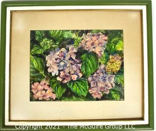 """Framed Under Glass Original Watercolor of Hydranga Flowers Signed by Artist E Lloyd Vitol. Measures 23"""" x 26"""""""