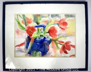 """Framed Under Glass Original Watercolor of Tulips in Blue Teapot Signed by Deborah Robinson. Measures 17"""" x 21"""""""