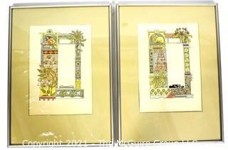 """Two (2) Framed Under Glass Color Lithograph Illustrations Signed by Artist Eugène Grasset from Zodiac Book. Includes of Aquarius-The Water Bearer & Aries-The Ram. Illustration by Signed by Artist Eugène Grasset. Each measures 11"""" x 15"""