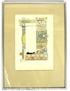 """One (1) Framed Under Glass Color Lithograph Illustration Signed by Artist Eugène Grasset from Zodiac Book of Taurus-The Bull. Measures 11"""" x 15"""