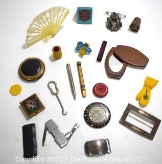 Antique Junk Drawer Trinket Items.