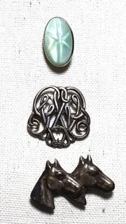 Three (3) Vintage Silver Brooches, One Marked Sterling.