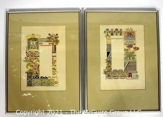 """Two (2) Framed Under Glass Color Lithograph Illustrations Signed by Artist Eugène Grasset from Zodiac Book. Includes Gemini-The Twins & Pisces The Fish. Each measures 11"""" x 15"""