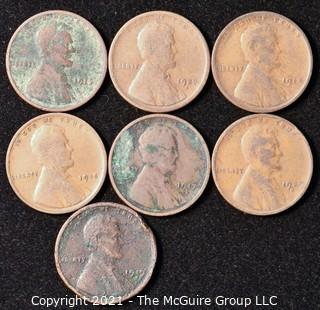 Numismatic: U.S. Coins: (7) Wheat Cents