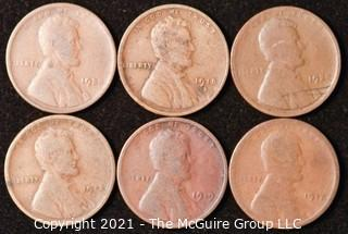 Numismatic: U.S. Coins: (6) Lincoln Wheat Cents