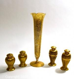Two (2) Sets of Porcelain With Gold Overlay Salt & Pepper Shakers & Matching Bud Vase.