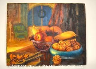 """Unframed Oil on Canvas Still Life of Fruit on Table; Unsigned but consigned by heirs of artist Charles E. Ruttan.   Measures 16"""" x 20"""""""