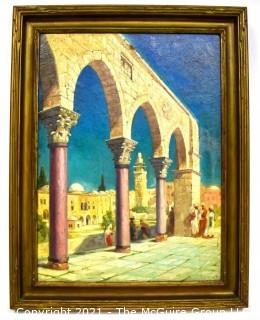 """Framed Oil on Canvas of Middle Eastern Scene Signed by Artist Charles E. Ruttan 1932.  Measures 22"""" x 28"""""""