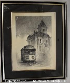 """Framed Under Glass Signed & Numbered Lithograph Entitled """"Cable Car"""" by Artist John Kelly."""