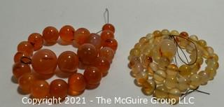 Two (2) Strands of Beads - Carnelian & Agate