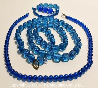Three (3) Strands of Blue Glass Beads.