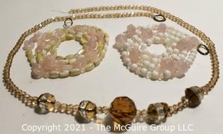 Three (3) Strands of Amber Glass and Rose Quartz Beads.